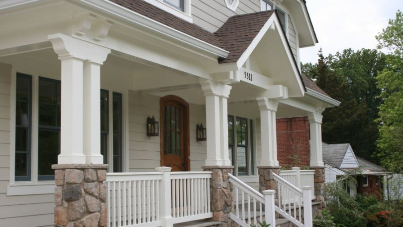 Arts crafts front porch archives thomas french for Arts and crafts porch columns