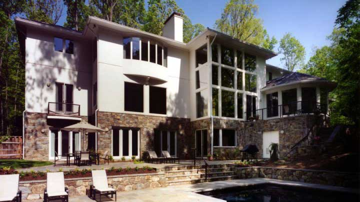 Contemporary Rear Exterior - Great Falls, VA