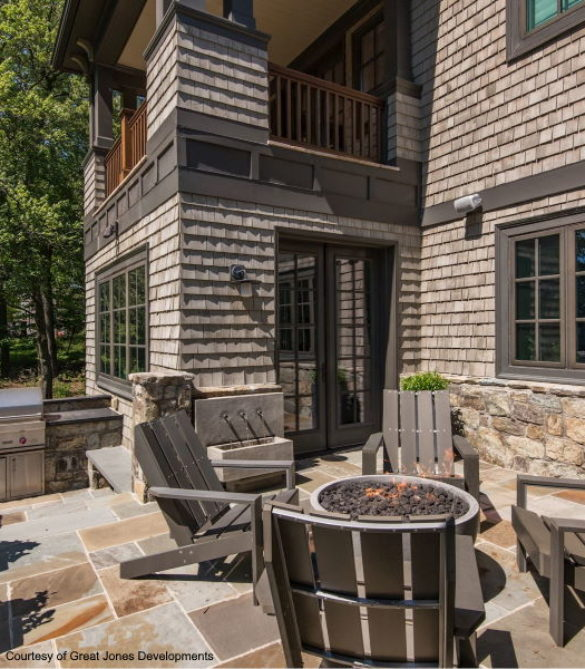 Raised Terrace with Firepit complementing a Shingle Style Home - McLean, Virginia