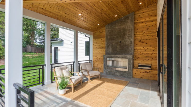 Modern Screened Porch with Warm Wood Finishes-McLean, Virginia